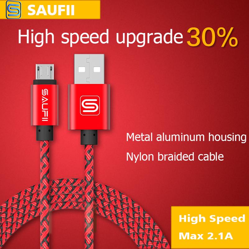 Original Saufii Short 1 2 M Nylon fast charging Metal Micro USB Cable for iPhone 5 5S SE 6 6s Plus 5s iPadmini / Samsung / HTC(China (Mainland))