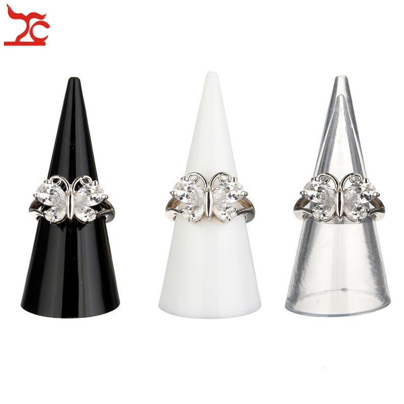 3pcs Plastic Solid Finger Cone Ring Stand Jewelry Display Holder Retail Shop Jewellery Showcase Countertop Black Clear Frosted(China (Mainland))