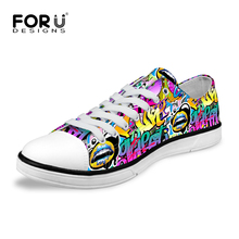 High Quality Women Shoes Lace-Up Graffiti Printing Canvas Shoes for Women Casual Low Lady Flat Walking Shoes Zapatos mujer
