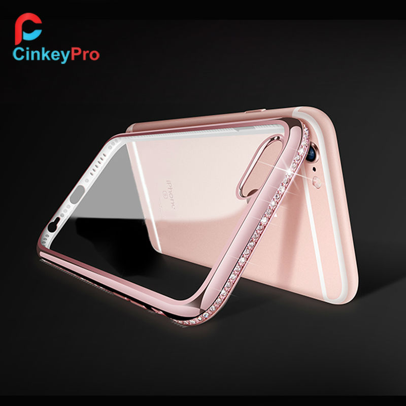 CinkeyPro For iPhone 6 Case 6s 4.7 inch Silicone TPU Diamond Back Cover Luxury Rhinestone Mobile Phone protective Cases(China (Mainland))