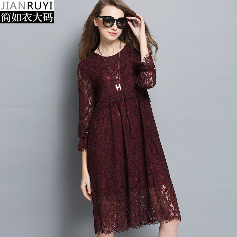 The new spring and fat MM lace stitching sleeve dress seven large size clothing factory direct wholesale(China (Mainland))