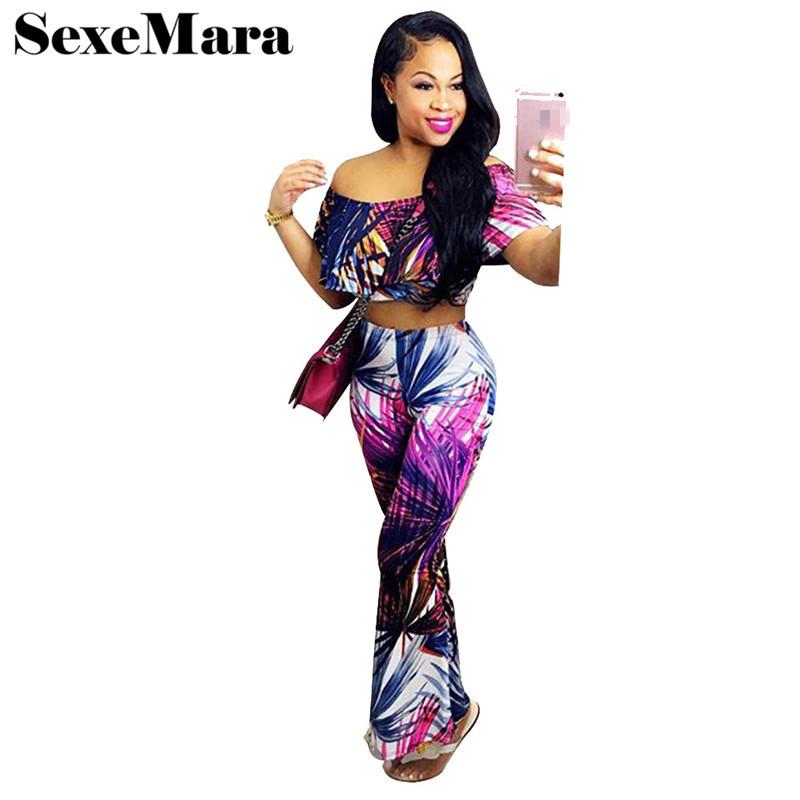 New Summer Women High Waist Wide Leg Pants Crop Tops Two Piece Set Colorful Print Shoulder Elegant Pant Suits D43-AC09