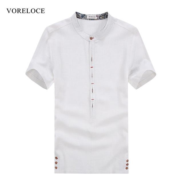 Мужская с коротким рукавом летом высокое качество льняная рубашка контракт шутник ...