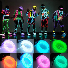 1pcs 3M 10 Colors EL Wire Tube Rope Battery Powered Flexible Neon Light Car Party Wedding Decoration With Controller Wholesale(China (Mainland))