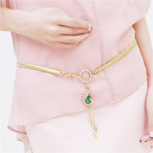 2016 Free Shipping women belt new Arrival waist chains Fashion crystal pendant women metal strap,gold/silver waistband,ceinture