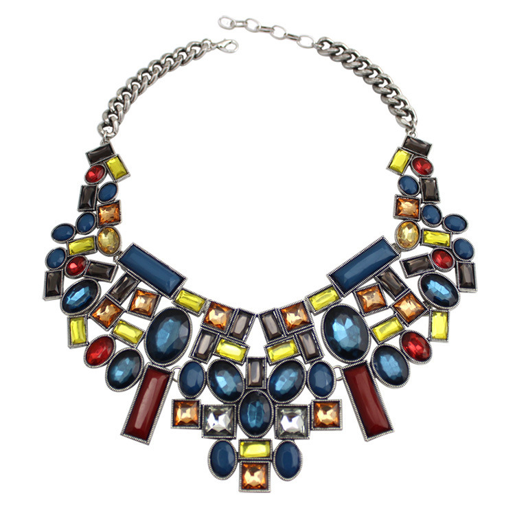 Fashion Accessory Multicolor Pendant Necklace Bib Collar Chunky Necklace Stone Statement Choker Necklace for Women Jewelry(China (Mainland))