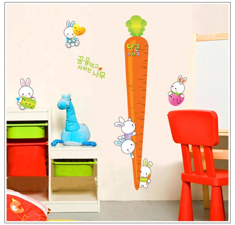 New rabbit holding a carrot kids growth chart height for Growth chart for kids room