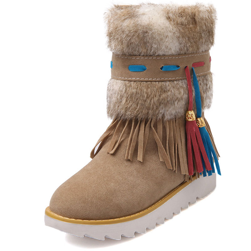New Autumn Winter Warm cheap shoes high knitting snow boots artificial scrub leather casual Bandage female ankle shoes ZT387(China (Mainland))