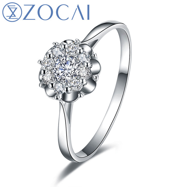 "ZOCAI ""2.5 CARAT EFFECT""PEERLESS BEAUTY 0.51 CT CERTIFIED H / SI  18K WHITE GOLD DIAMOND ENGAGEMENTF FLOWER DIAMOND RING W00089"