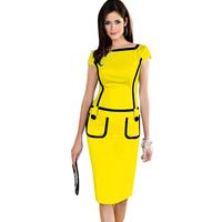 Dropshipping Fashion Women Elegant Back Zipper Button Pockets Stretchy Bodycon Wear to Work Career Knee-Length Cute Dress S-XL