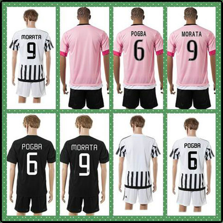 New Best Uniforms Kit POGBA MORATA TEVEZ White Black Strip 2015-2016 MARCHISIO Soccer Jersey Home AWAY Pink Full Shirt(China (Mainland))