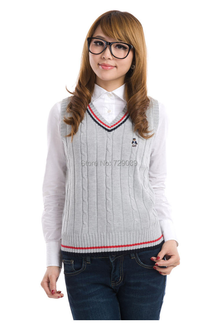 In style sweater vest sweater vest for Womens school uniform shirts