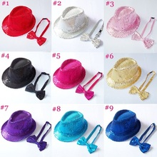 Sequin hat with bowtie set for children Kids fedora trilby hat with bow tie Boys girls fedoras with Sequins 10set BH236C(China (Mainland))