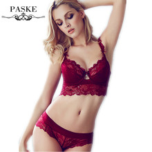 French Famous brand transparent bra romantic temptation lace bra set young women underwear set push up bra and panty set BS307(China (Mainland))