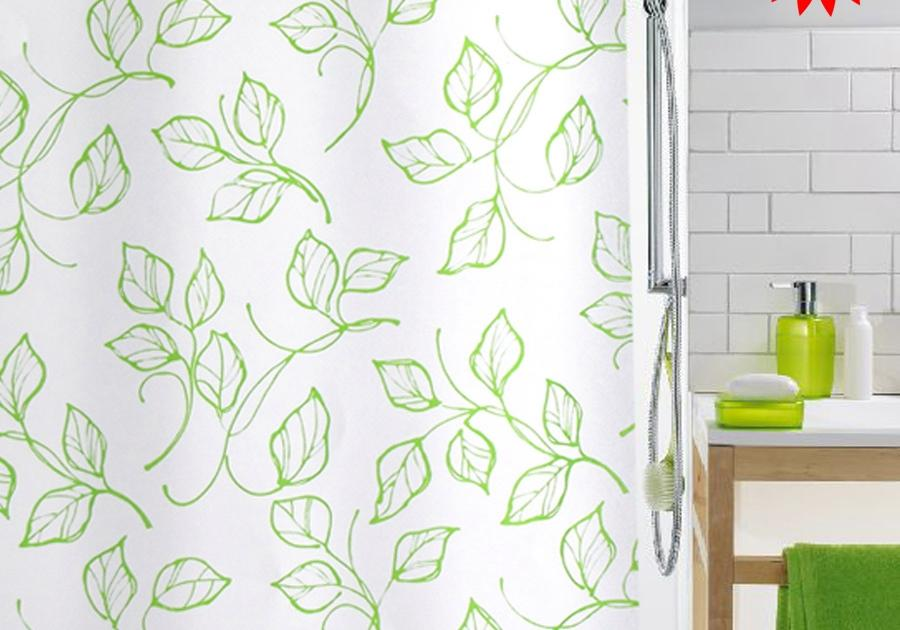 Spring Green Leaves And White Minimalist Bathroom Shower Curtain Thick Waterproof Polyester