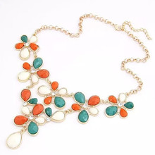 Star Jewelry 2015 New Design Fashion Flower choker Statement necklace For Women Popular Maxi Necklace Wholesale Hot