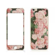 "Hot Sale Rushed Fashion Rushed Tempered Glass Color Film Cover Screen Protector Girl Flower ""hello,kitty"" For Iphones 6 6s 6plus"
