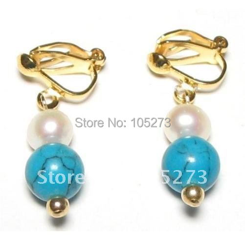 New Arrive Chirstmas Jewelry ! Stunning AA 6-8MM White Pearl &amp; Turquoise 18K YGP Clip On Earrings Fashion Party Wedding Earrings<br><br>Aliexpress