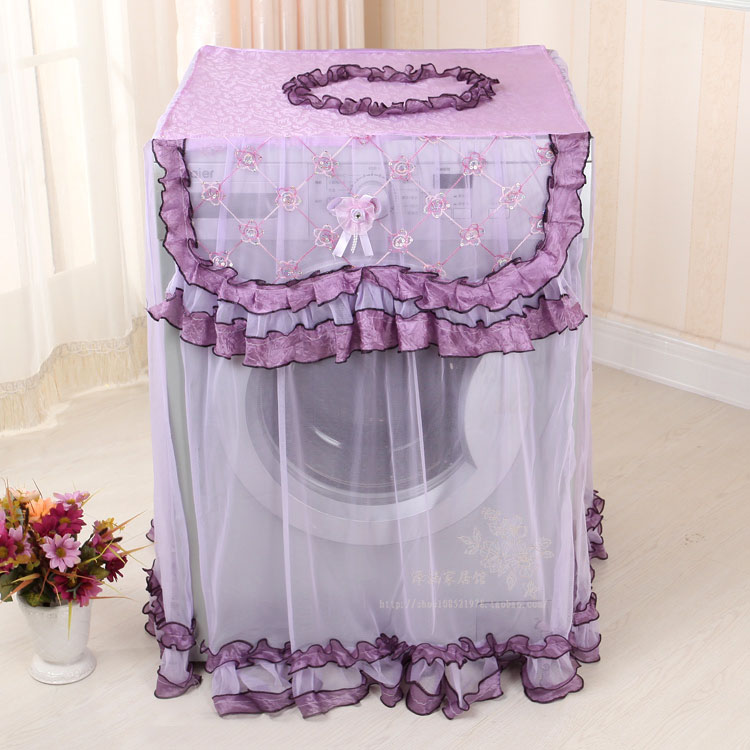 Purple Washing machine protective cover Lace Front opening Dust covers Thick waterproof sunproof sheather Home decor(China (Mainland))