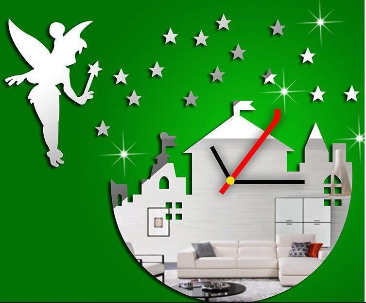 2015 new reloj de pared mirror wall clock modern design angel stars clocks luxury wall watch sticker on kids room free shipping(China (Mainland))