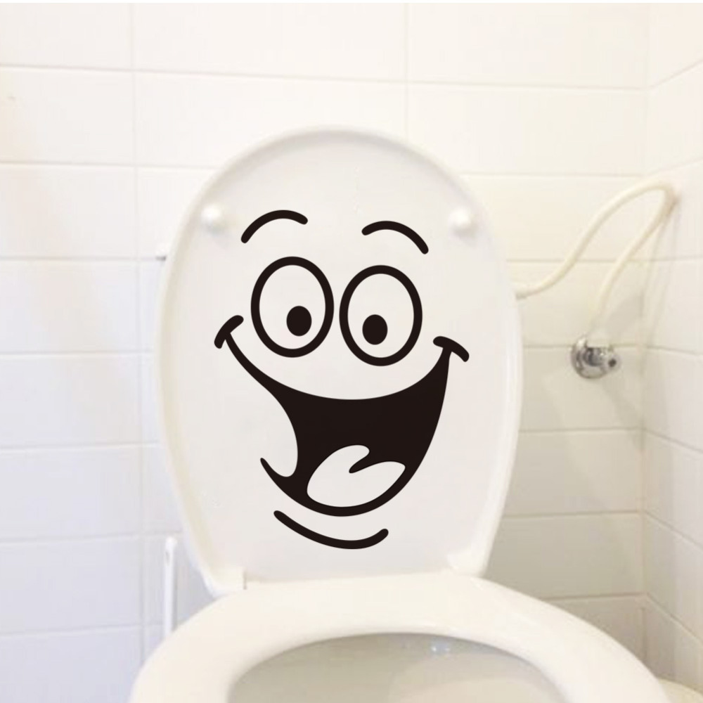 Smile face Toilet stickers diy personalized furniture decoration wall decals fridge washing machine sticker Bathroom Car Gift(China (Mainland))