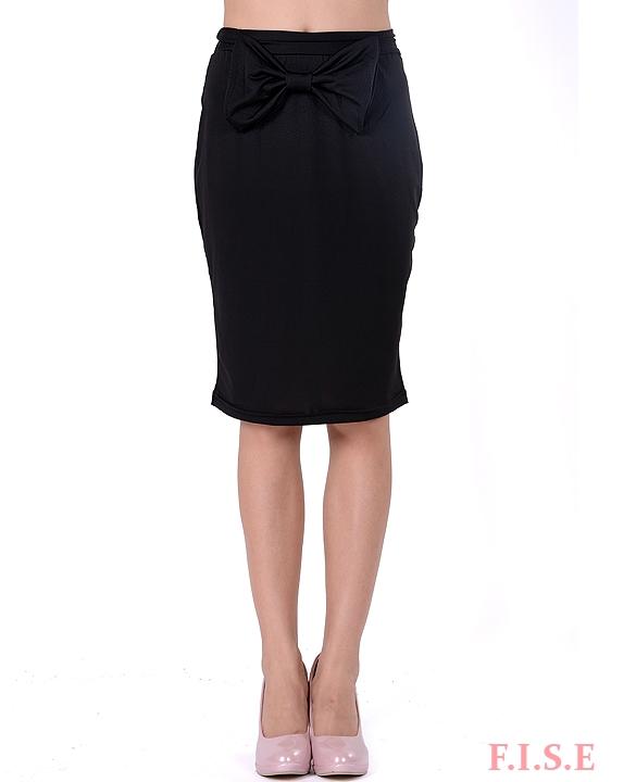 business suit skirt black knee length vintage high