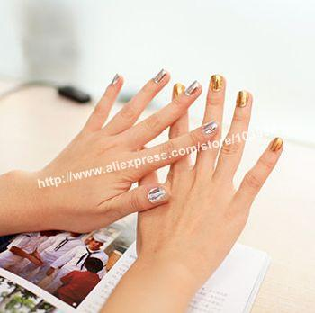 Free Shipping 10Pack/LOT NEW Fashion Nail Sticker MINX Gold and Silver Nail Foil Wrap Decals Shiny Nail Patch