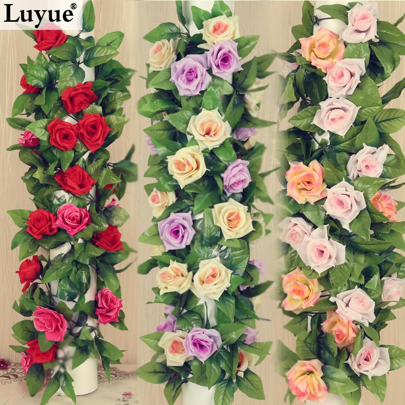 Wedding decorations 2.3M Artificial Silk ROSE Fake FLOWER Ivy Leaf Garland Plants Home Wedding Decor(China (Mainland))