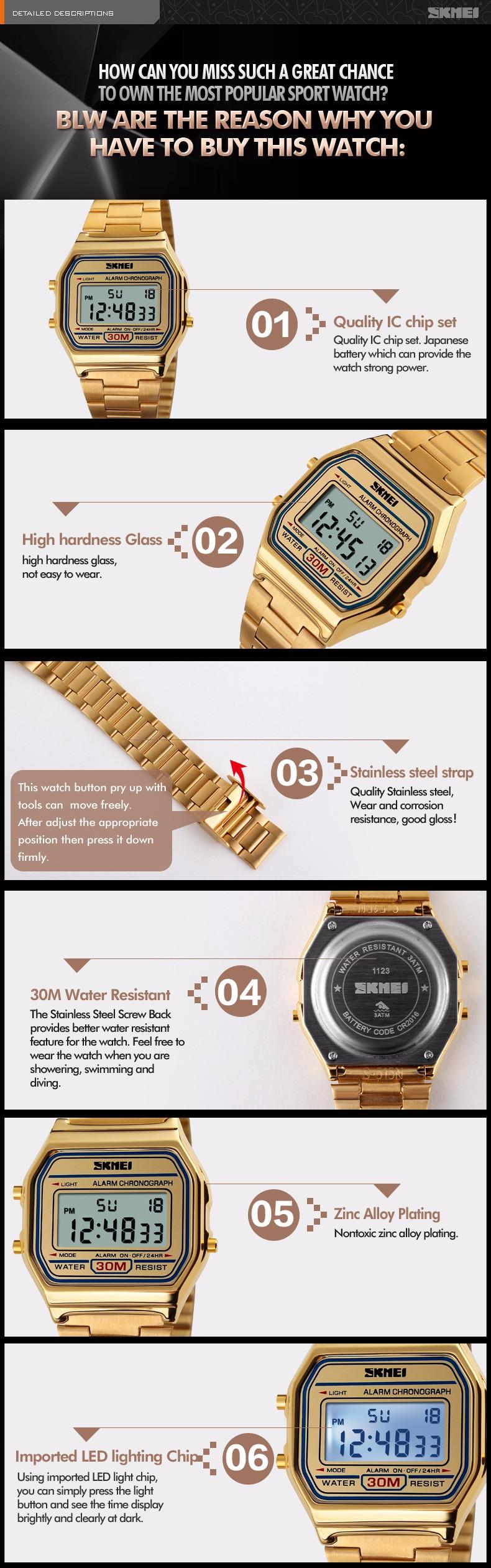 Мужчины классический стиль спортивные часы прямоугольный циферблат цифровые часы стальной ленты водонепроницаемый наручные часы