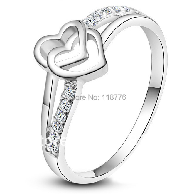 New Arrive Fashion Accessories Jewelry White Gold Plated CZ Diamond Rhinestone Heart Wedding Engagement Promise Rings