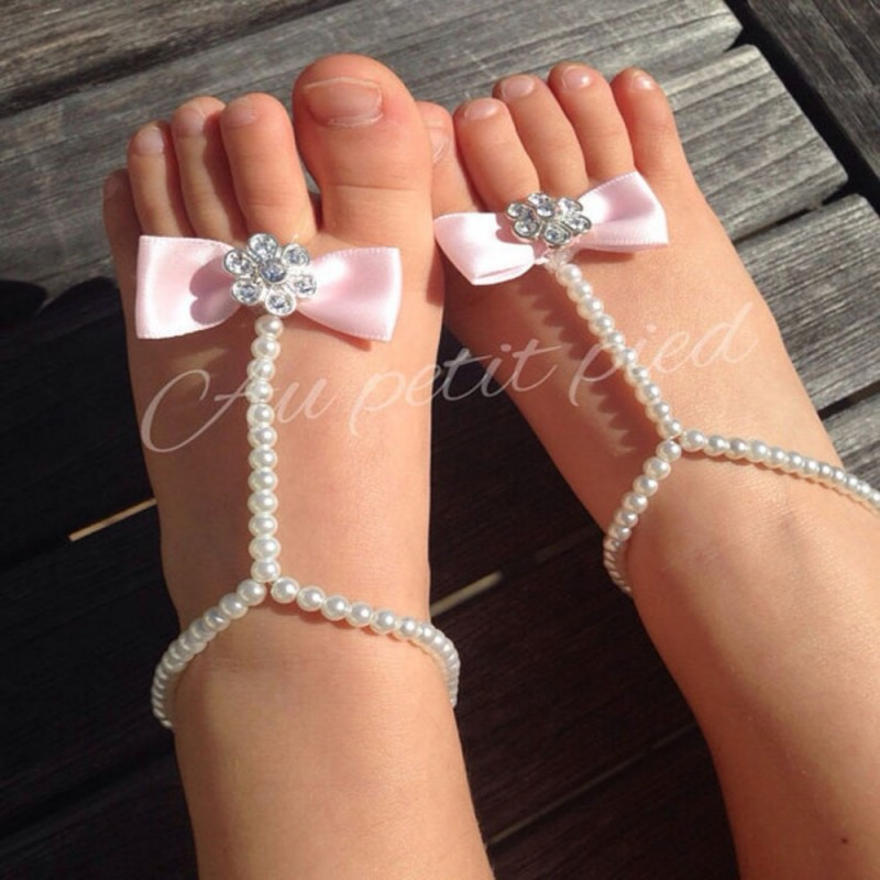 Infant Summer Style Bow Shinny Pearls Decorated Baby Barefoot Shoes Infant First Walker Baby Shower Gifts Daily supplies(China (Mainland))