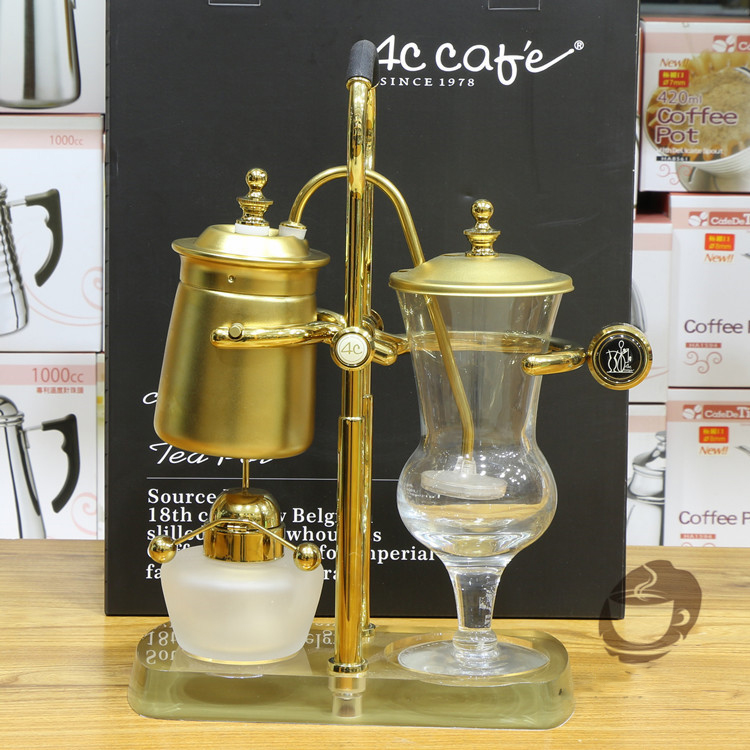 New 4c gold belgium royal coffee maker/4c syphon coffee maker with elegant quality and the best price in the world(China (Mainland))