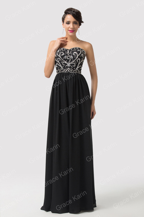 2016 Sweetheart Elegant Long Prom Dresses Black Navy Blue Red Formal Dress Chiffon Beaded Sequins Ball Party Gown(China (Mainland))