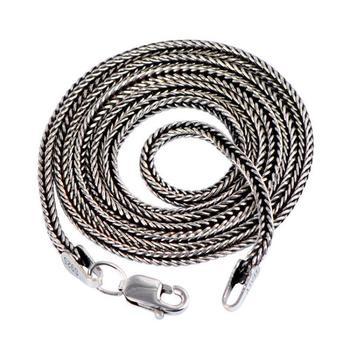 Real Pure 925 Sterling Silver Necklace Chain Men 1.6mm 18-24inch Retro Vintage Solid Thai Silver Fine Jewelry