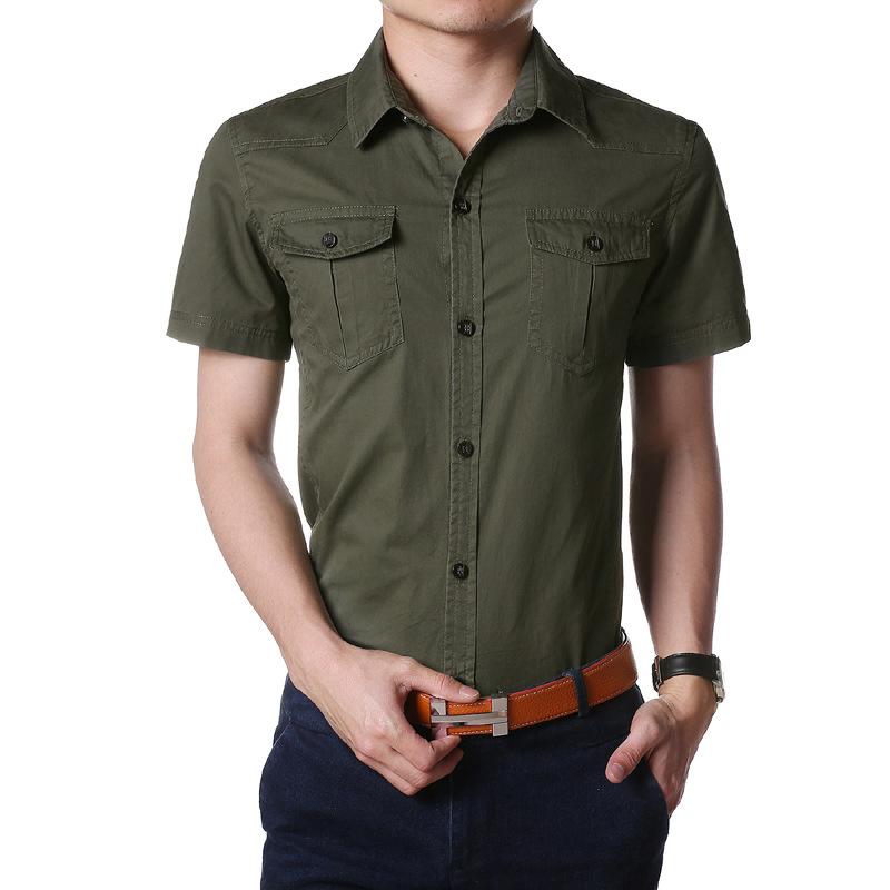 New Arrivals Military Style Shirt Man Short Sleeve Shirt
