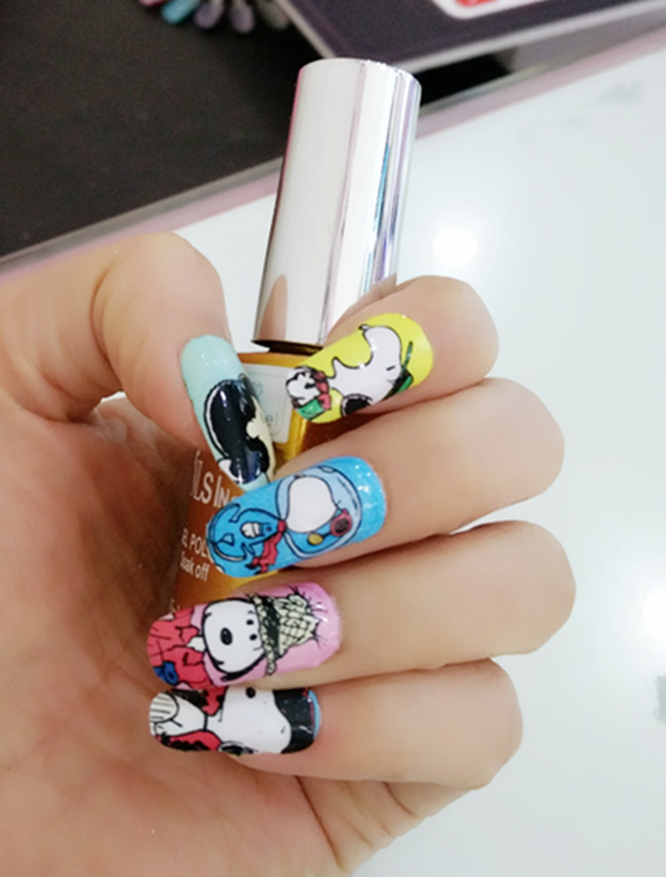 Manicure Foil Decor Acrylic Decal Adhesive Nail Art Stickers Cute Lovely Cartoon Dog Design Nail Wrap Sticker(China (Mainland))