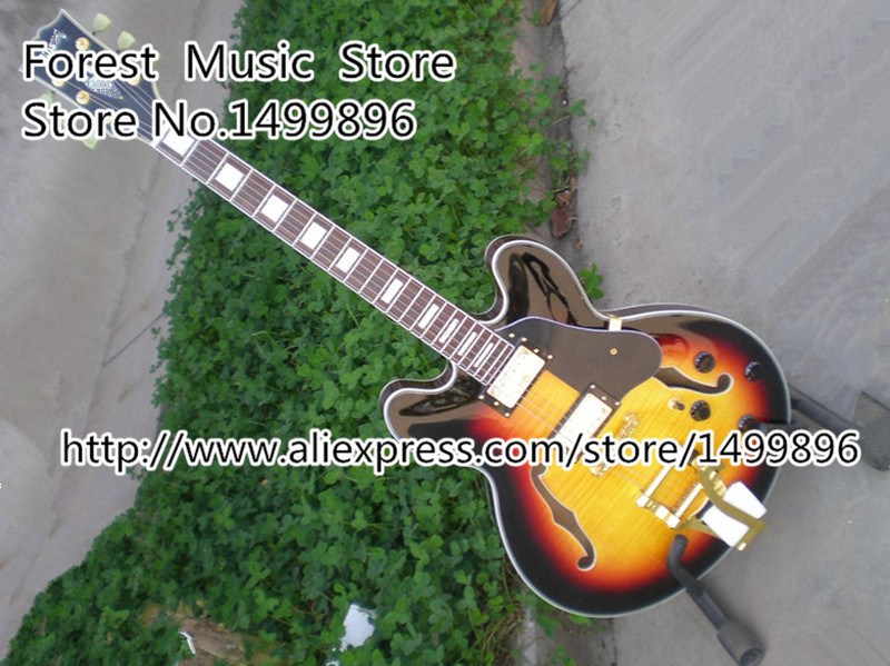 Hot Quality Chinese Golden Hardware LP Electric Guitar Vintage Sunburst Tiger Flame Hollow Guitarra Body From Chinese Factory<br><br>Aliexpress