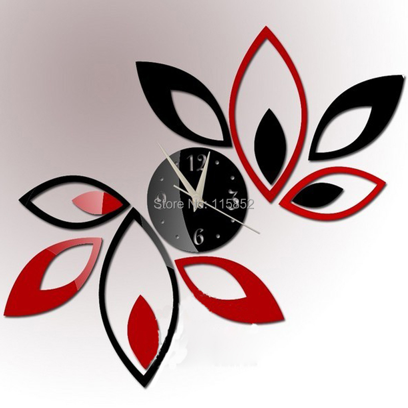 ! 3D PS Fashion DIY Mirror Wall Clock Home Decor 1 MM Thickness, Large Decorative Clocks - Joya Store store
