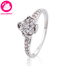Flower Shaped Platinum Plated Prong Setting 2.2 CT Brilliant Cut Grade AAA CZ Diamonds Engagement Ring (10037) FREE SHIPPING(China (Mainland))