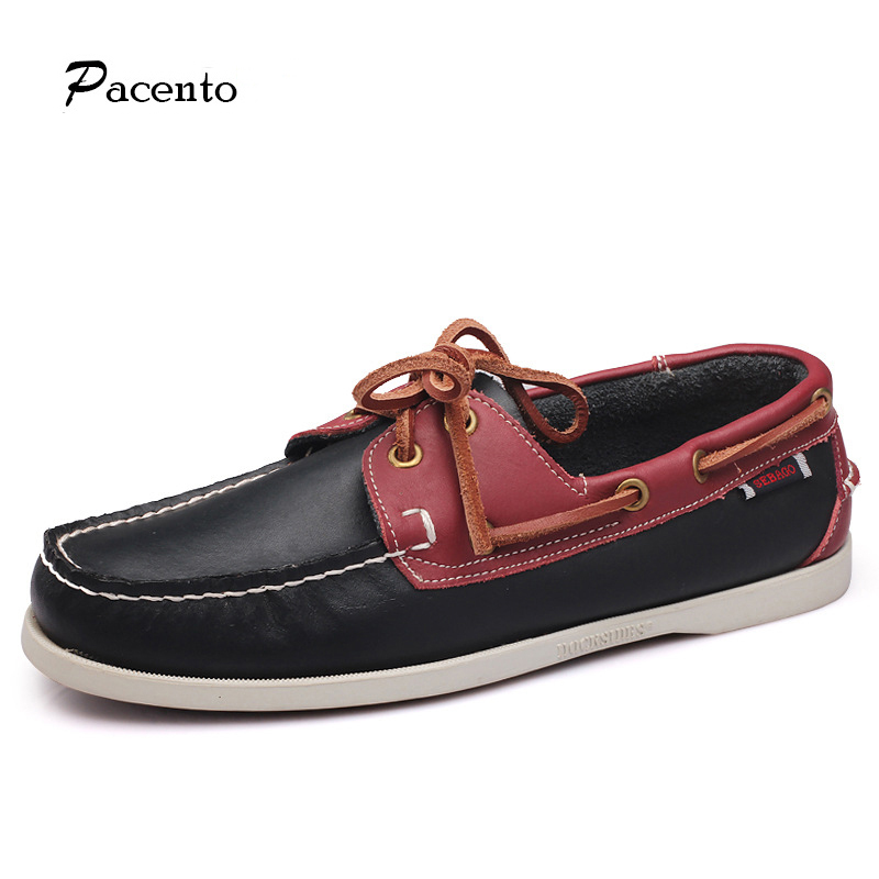 2016 PACENTO Summer Causal Shoes Men Loafers High Quality Genuine Leather Moccasins Men Driving Shoes Boat Shape Flats For Man(China (Mainland))