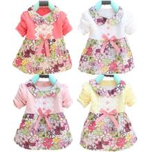 All Season Long Sleeve Doll Collar Baby Girls Dress 0-24M Infant Floral Lace Bow Clothes Dresses