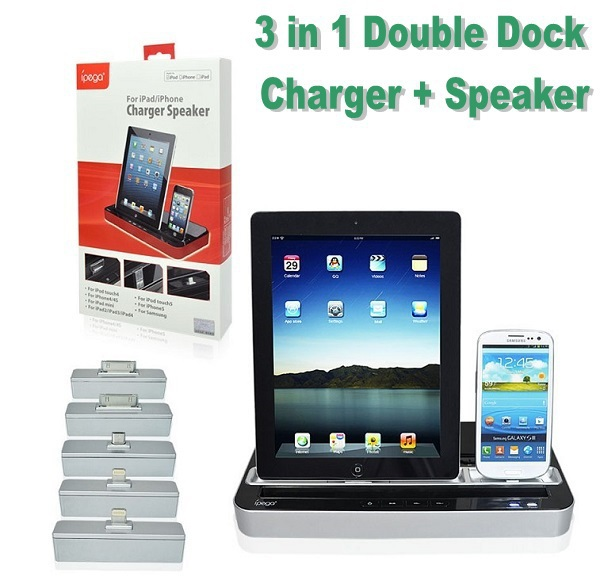 """Faster """"Free shipping"""" Multi-Function Docking Station Charger Speaker for iPhone 4/4s/5 IPAD 2/3/4/MINI Galaxy S2 S3 Note 2(China (Mainland))"""