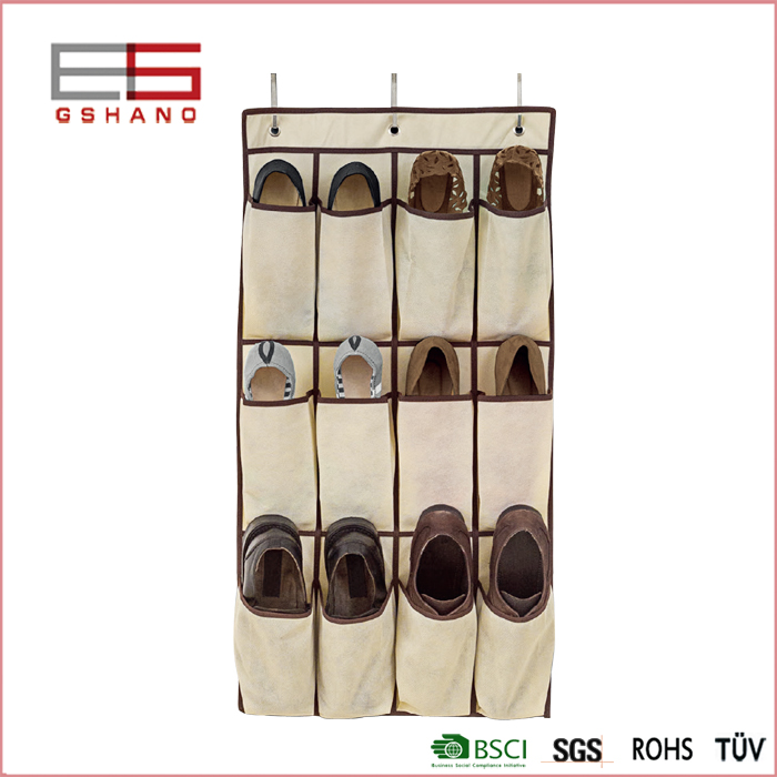 1 Pc Folding Non-woven Fabric Wall Door Storage Bag With12 Pockets Shoes/Clothing/boots hangers Home Organization(China (Mainland))