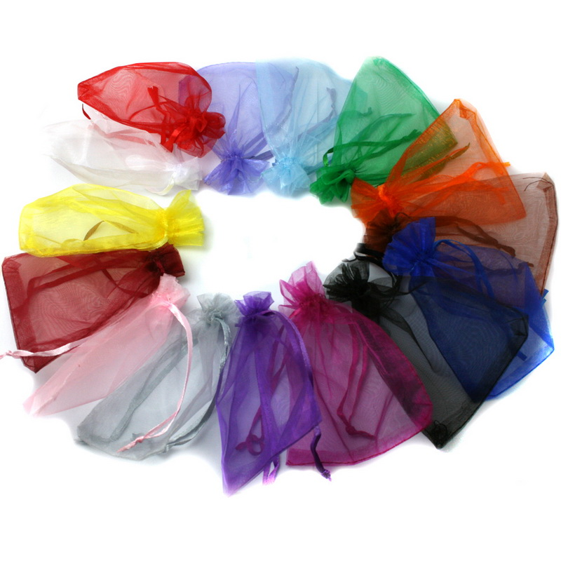 10pcs/lot Selection 16Color Jewelry packaging & Display Drawable Organza Bags 7x9cm 9X12cm Gift Bags & Pouches,Packing bags DIY
