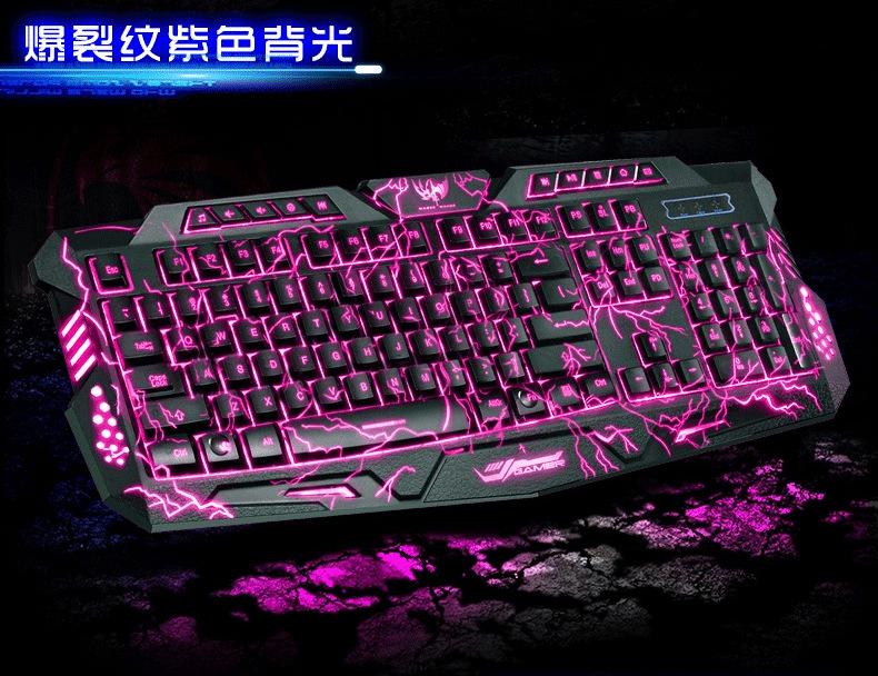 Mechanical armor backlit keyboard cool 3 color backlight CF lol desktop computer notebook cable light gaming keyboard(China (Mainland))