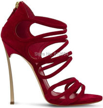 Gold metal stiletto heel gladiator sandals red suede strappy high heel dress shoes discount price hot selling(China (Mainland))