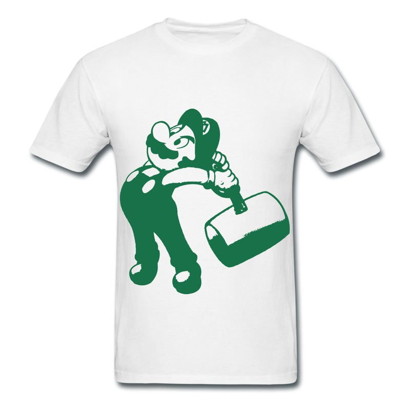 Printing slim fit men t shirt big belly mario with wooden for Dress shirts for big bellies