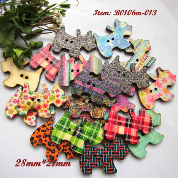 144pcs Retro mixed printing dogs buttons wooden animal shape buttons scrapbooking craft decorative accessories(China (Mainland))