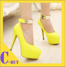 New arrived 2014 Women Hot Neon color sexy 13CM ultra High heel Pumps Pink/yellow/black platform party shoes 704(China (Mainland))