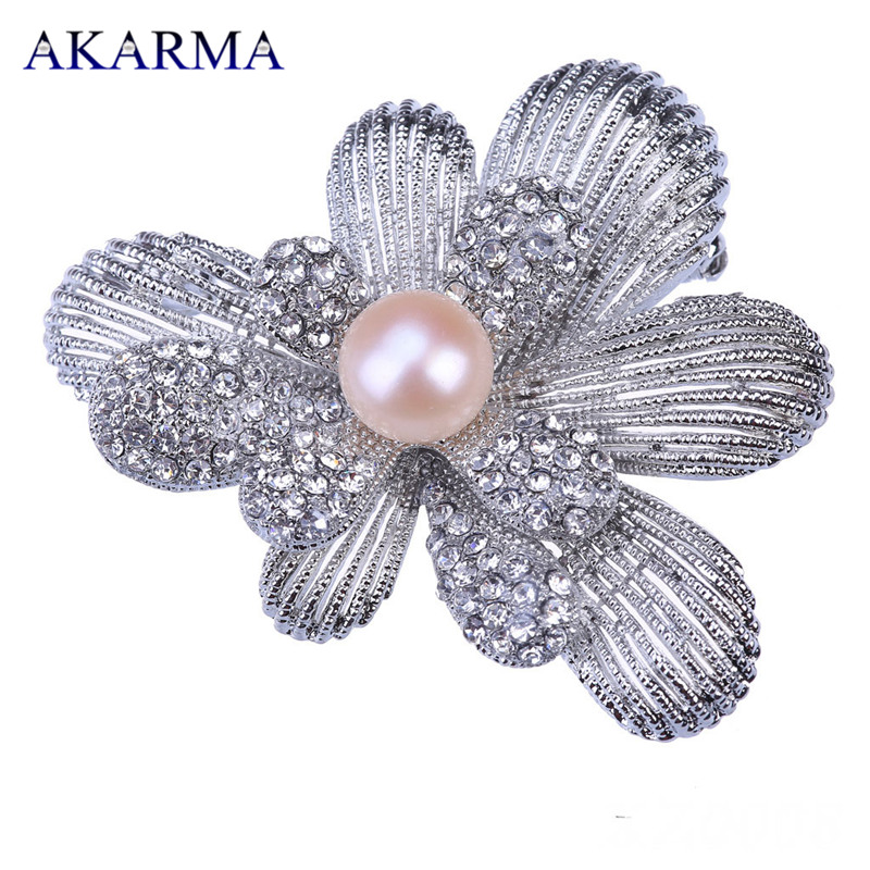 Akarma Natural Freshwater Pearl Brooch Fashion Zircon Flower Brooche for Women 2 Colors Brooches lapel pin Valentines day Gift<br><br>Aliexpress